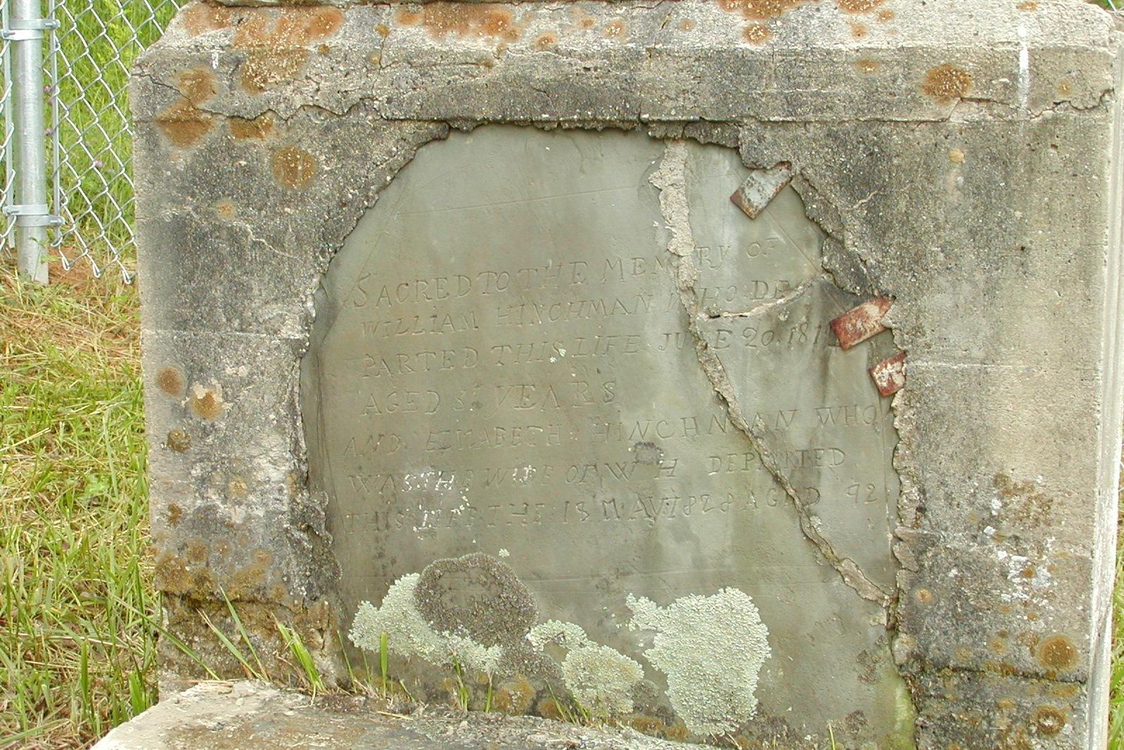 William and Elizabeth Hinchman Grave Site