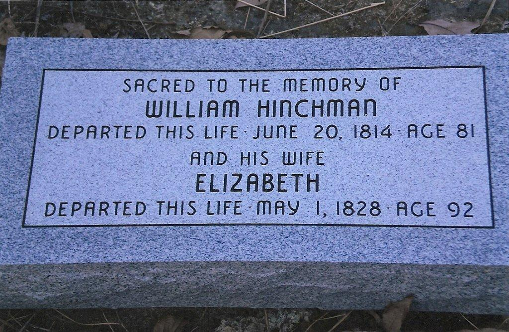 New Grave Marker for William and Elizabeth Hinchman